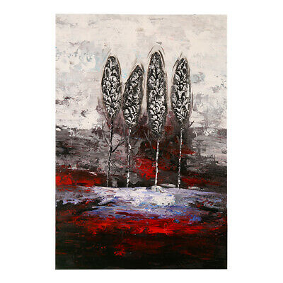 Genuine Hand Painted Abstract Art Oil Painting On Canvas Birch Forest (Framed)