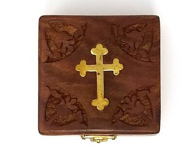 Vintage Hand Carved Floral Brass Cross inlay Wooden Box Brand New