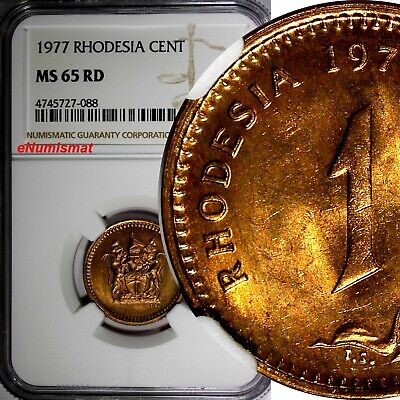 RHODESIA Bronze 1977 1 Cent NGC MS65 RD FULL RED TONING KM# 10