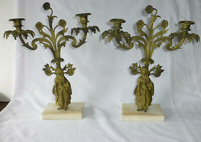 French Figural Gilt Bronze 2-Pc Girandole Candelabra Set Moorish Maiden w Prisms