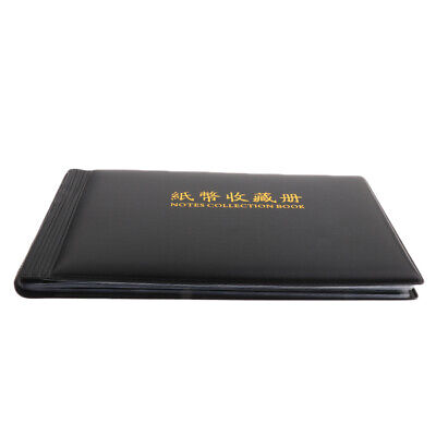 Banknote Currency Coins Album Storage Paper Money Pocket Collection Black