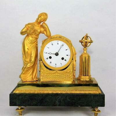"Antique French Empire gilt bronze & marble mantel clock ormolu ""La Liseuse"""