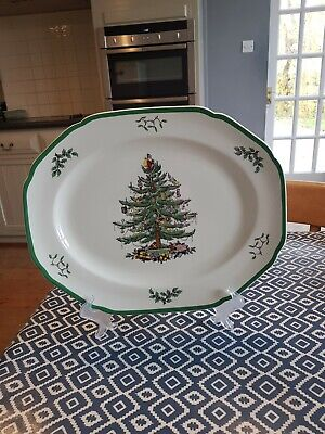 "Spode Christmas Tree Platter Serving Dish Large 14 1/2"" by 11 5/8"" Free Shipping"