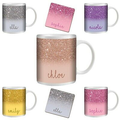 Personalised Custom Printed Glitter Effect Tea Coffee Mug Cup Gift Name Coaster