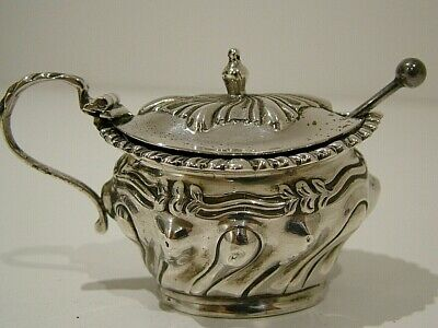 Antique Hall Marked 1913 Antique Solid English Silver Mustard Pot & Spoon (835)