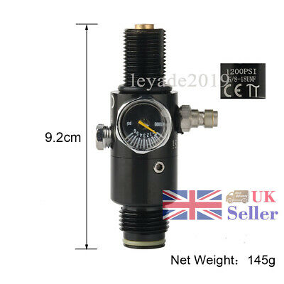 4500Psi Valve 1200Psi Output HPA Air Tank Regulator 5/8-18UNF Paintball Black UK