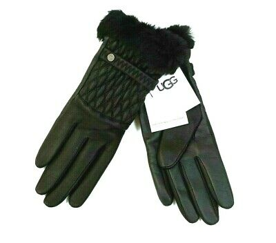 NEW UGG Women's Black Quilted Leather Shearling-Cuff Tech Gloves Size Medium