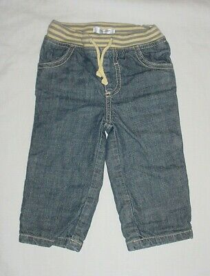 EUC Baby Boden Boys Rib Waist Lined Denim Blue Jeans 6-12 Months