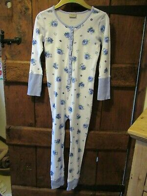 Next Girls White & Blue Floral All in One Sleepsuit Age 9 Years VGC