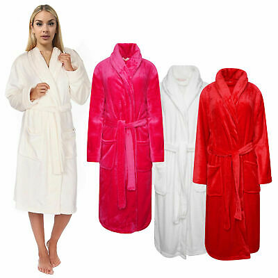 Womens Dressing Gown Bath Robe Shawl Neck Flannel Fleece Robes Ladies Wrap Gowns