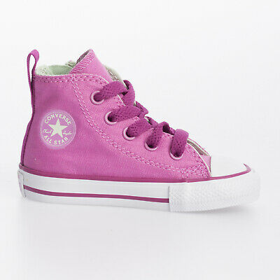 Converse Infant Girls Chuck Taylor Side Zip Hi Pink Lace Up Canvas Trainer