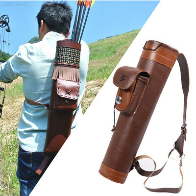 D54B Cow Leather Archery Traditional Back Hunting Bow Shooting Brown Arrows Bag