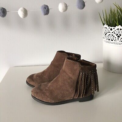 Girls River Island Ankle Boots UK 4 Toddler, Younger Girls. Brown Suede Tassels