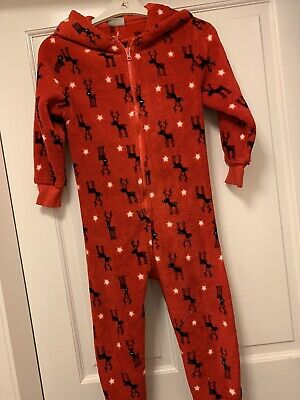 Girls Next Red Supersoft Christmas One Piece All In One Pyjamas Age 7Yrs Great