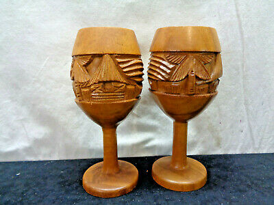 "Hand Carved Monkey Pod Wooden Goblets Made In Phillipines 8.5"" Tall (OAS7)"
