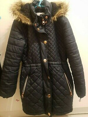 Girls Navy Quilted And Hooded Winter Coat By TU Age 7-8 Years