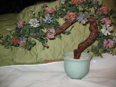 """Vintage Jade Tree Japan Asian Glass Carved Bonsai Leaves Flowers Chinese 18"""" Ht"""