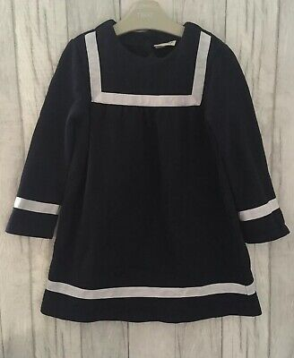 Next Girls Cosy Dress 4-5 Years Sailor Thick Jumper Winter Outfit Christmas Navy