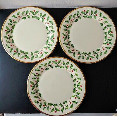 SET of 3 LENOX HOLIDAY DINNER DIMENSION PLATES Excellent may be UNUSED