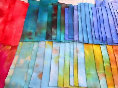 Lot of 50 Hand Dyed Dorr Mill Wool Rug Hooking Brights Swatches