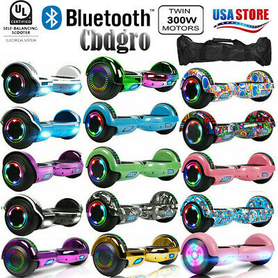 """6.5"""" Bluetooth Hoverboard Self Balancing Electric Scooter UL Bag LED Colorful"""
