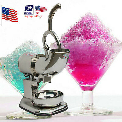 US Stock 220W Stainless Ice Shaver Machine Snow Cone Maker Shaved Icee Electric
