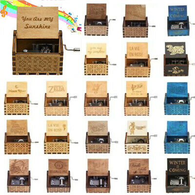 Retro Wooden Music Box Hand Crank Engraved Musical Toys Kids Birthday Xmas Gifts