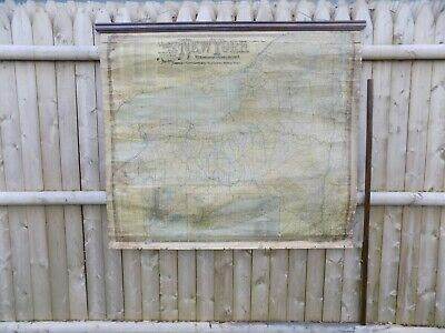 New York 1902 Railroad, Post Office & Township Roll Down Wall Map