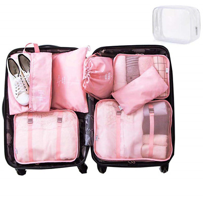 8 Set Packing Cubes - WantGor 6 Travel Organizer Luggage Compression Pouches + 1