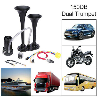 150DB 12V Two Trumpet Kit Air Horn Compressor Super Loud Car Lorry Boat