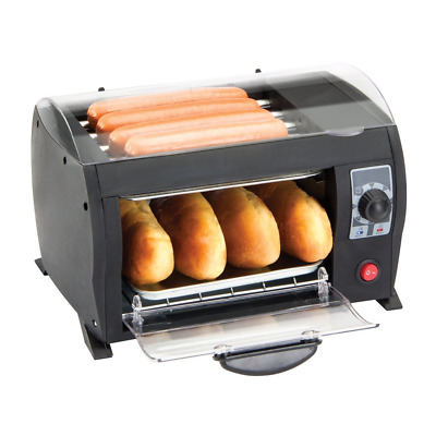 Global Gourmet Hot Dog Toaster Maker Machine - Electric Bread Grill with Timer -