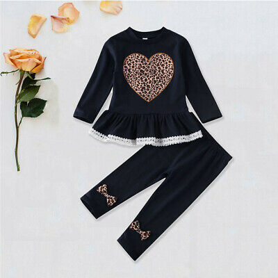 Toddler Kids Baby Girls Clothes Leopard T-shirt Tops Pants Outfit Sets Tracksuit