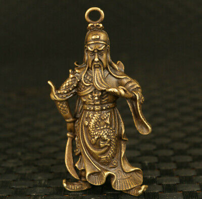 rare old bronze hand casting Guangong statue figure collectable netsuke gift