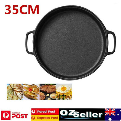 35CM Cast Iron Frying Pan Non-Stick Coating PanMeat Grill Plate Kitchen Cookware
