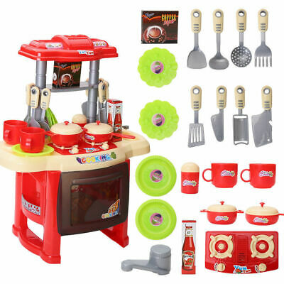 Electronic Kitchen Red Cooking Toy Toddler Children Kids Cooker Role Play Set