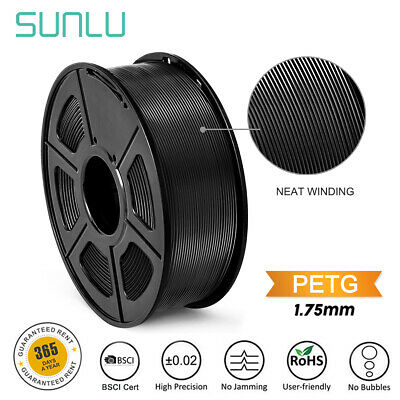 SUNLU 3D PETG Printer Filament 1.75mm 1KG/2.2LB Spool Black  Material Neat line
