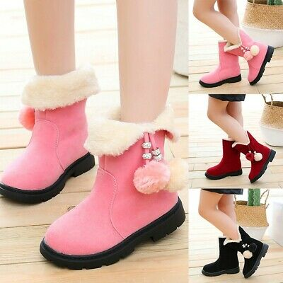 Children Kids Baby Girls Winter Warm Hairball Snow Short Boots Casaul Shoes UK