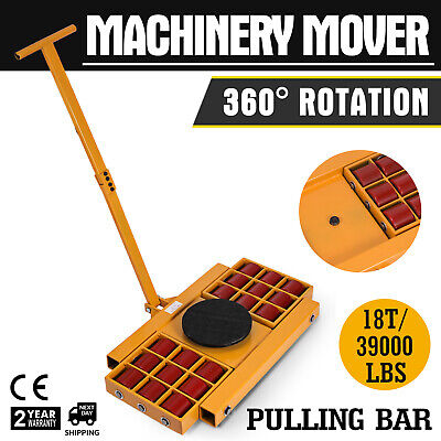 18T/39000LBS Machinery Mover Roller Dolly Skate Heavy Equipment PU Wheels