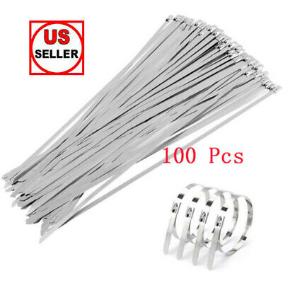 """100 Pcs 12"""" Stainless Steel Exhaust Wrap Coated Metal Locking Cable Zip Ties"""