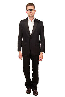 RRP €765 VERSACE COLLECTION Wool Tuxedo Suit Size 48 / M Black Contrast Satin