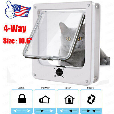 """Cat Doors, Magnetic Pet Door 4 - Way Rotary Lock for Cats, Dogs Large Size 10.6"""""""