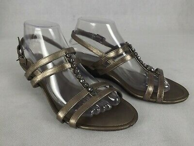 Diana Ferrari Supersoft Size 9C Sandals Pewter Sparkle Low Wedge Strappy Comfort