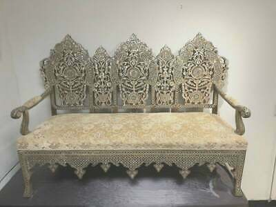 19th century Ottoman Middle Eastern Moorish Mother Of Pearls Wood Couch.