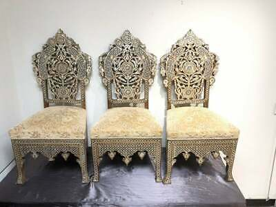 19th century Ottoman Middle Eastern Moorish Mother Of Pearls Wood Chairs. (3)
