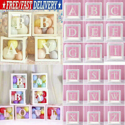 """12"""" Transparent Box Letter A-Z Storage Balloon Baby Shower Birthday Party Decor"""