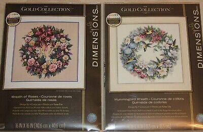 Dimensions - Lot of 2 new kits - 3837 Wreath of roses & 35132 Hummingbird wreath