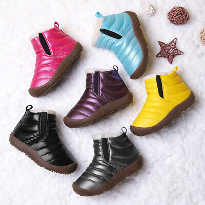 Toddler Boys Girls Snow Ankle Boots Winter Warm Fur Lined Waterproof Shoes Size