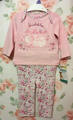 BNWT Baby Toddler Disney Bambi Thumper Pink Floral Cotton Pyjamas Pjs Nightwear