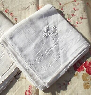 Vintage French White Linen Fabric Square Handkerchief Hand worked Monogram
