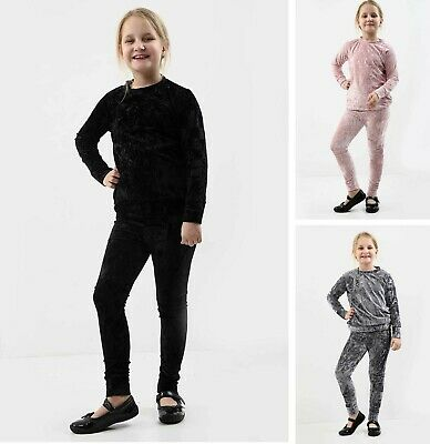 Girls Kids Velour Tracksuit Top & Bottom Set Velvet Lounge Wear Co Ord Suit